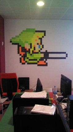 8 bit characters made with post it notes ~ There are also Mario, Megaman and Pokemon ones in this gallery