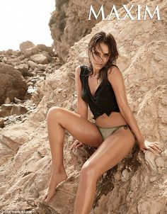 Sculpted: Jessica Alba looked incredible as she posed in a sexy photo shoot for Maxim Maga...