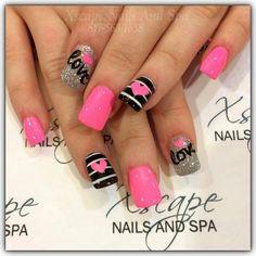 Valentine s day nail designs cute nails acrylic proartcat fingernails Fancy Nails, Love Nails, Pretty Nails, My Nails, Diy Valentine's Nails, Pink Nails, Valentine's Day Nail Designs, Acrylic Nail Designs, Nails Design