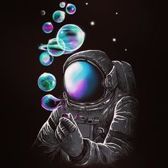 Sometimes you need to de-stress with some bubbles. Exactly how this astronaut is achieving this is a mystery. :)