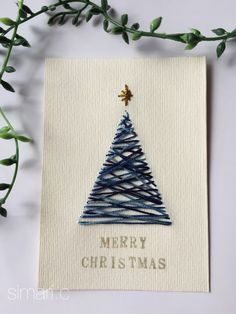 Xmas card of paper embroidery 🎄 blue- 紙刺繍のXmasカード🎄青 Xmas card blue version of paper embroidery - Christmas Card Crafts, Homemade Christmas Cards, Christmas Cards To Make, Christmas Art, Homemade Cards, Holiday Cards, Christmas Holidays, Christmas Decorations, Christmas Ornaments