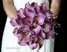 Purple Calla Lily bouq, love the center focal trio