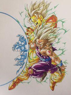 Ridiculously awesome fan art of the Father-Son Kamehameha! Dragon Ball Z, Goku And Gohan, Son Goku, Z Tattoo, Akira, Anime Art, Manga Anime, Sketches, Drawings