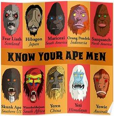 'Know Your Ape Men' Poster by Mattfields Mythical Creatures Art, Mythological Creatures, Fantasy Creatures, Character Inspiration, Character Art, Dc Superhero Girl, Dragons, World Mythology, Myths & Monsters