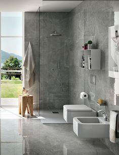 Grey Bathrooms Designs, Bathroom Design Luxury, Bathroom Design Small, Bathroom Interior, Grey Kitchen Wall Tiles, Grey Marble Bathroom, Casa Milano, Small Toilet Room, New Bathroom Ideas