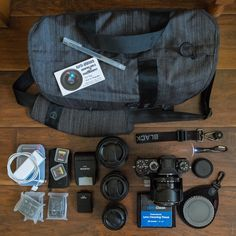 Scott Young's Camera Bag ||  Contents:      Fujifilm XT-1 w/XF-23mm f/1.4 R     Fujinon XF-35mm f/1.4 R     Fujinon XF-14mm f/2.8 R     Fujinon XF-56mm f/1.2 R     BlackRapid wrist strap     Rear lens/body caps     ND & CPL filters to fit all lenses     Led pen light     Lens cloth & cleaning tissues     Fujifilm EF-X8 & EF-20 flash heads     Extra 64Gb 95Mb/s Extreme Pro SD cards     3 extra Fuji-brand batteries     Extra AAA batteries (for EF-20 flash head)     Mobile phone battery back-up…