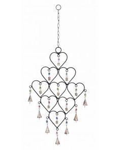 Rust Resistant Metal Heart Wind Chime with Beads and Bells - Made from metal, it features 9 symmetrical hearts arranged in a delightful pattern. Each heart has a colorful bead and a bell attached via a metal link. Hang this wind chime up in your bedroom to instantly add a romantic charm to the decor.