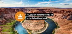 You can make the world a bit better by booking a hotel! Choose from over 480,000 hotels among which 6,957 are eco-labeled. We also donate 50% of our commission to a charity of your choice. #bookdifferent #greenhotels #charity #travel