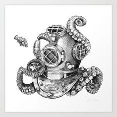 Risks And Rewards Of Scuba Diving Helmet Tattoo, Mask Tattoo, Nautical Drawing, Scuba Diving Tattoo, Helmet Drawing, Octopus Drawing, Diving Helmet, Wale, Traditional Tattoo