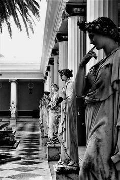 The Terrace of the Muses in the Achilleion Palace in Corfu island, Greece Beautiful Islands, Beautiful World, Beautiful Places, Albania, Santorini, Places Around The World, Around The Worlds, Corfu Greece, Mykonos Greece