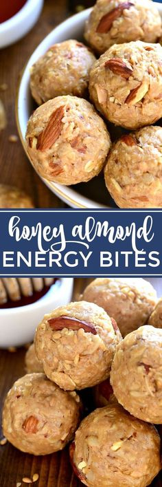 Energy snacks - These Honey Almond Energy Bites are packed with the BEST flavors and perfect for snacking! They're a little bit salty, a little bit sweet, and guaranteed to give you the energy boost you need! Protein Bites, Protein Snacks, High Protein, Energy Snacks, Energy Bites, Breakfast Recipes, Snack Recipes, Cooking Recipes, Vegetarian Recipes