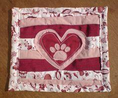pink and white heart paw print folk art mug rug dog lover coaster desk protector by elainenthesun on Etsy