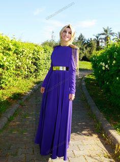 Omuzları Apoletli Altın Kemerli Elbise 9628 - Mor - Mustafa Dikmen