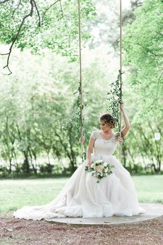 www.frenzelstudios.com Bridal Portraits on a vintage swing at this Historic Cedarwood wedding- a Nashville plantation/historic farm wedding venue just outside of downtown.  Photo by: Frenzel Studios #frenzelstudios