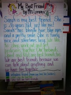 """Personal Narratives-This is for a second grade class, but she has a great """"write about your best friend"""" lesson!"""