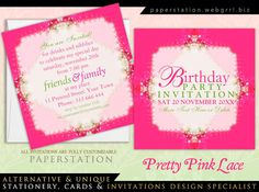 Pretty Girl Pink Lacy Birthday Party customizable Invitations