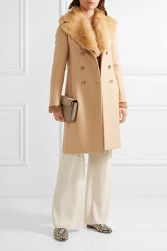 The Row - Roza Shearling-trimmed Double-breasted Wool-twill Coat - Sand