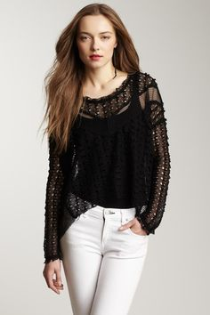 Lace Draped Pullover by Rain
