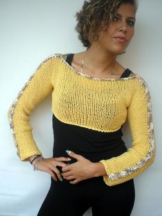 Yellow Short Sweater Trendy Chunky  Cotton Hand Knit Woman Sweater NEW