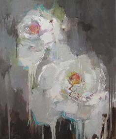 Barbara Flowers, 'White Flowers' Oil on Canvas', 36x30 - Anne Irwin Fine Art