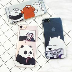 We Bare Bears Ultra-thin Soft Cases Funny Expression Brown Bear Transparent Silicone Cases For iphone 5 5s 6 plus 7 7plus Cover