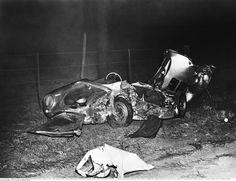 Nur noch ein Wrack: Bei dem Crash starb Dean an der Unfallstelle. Sein...