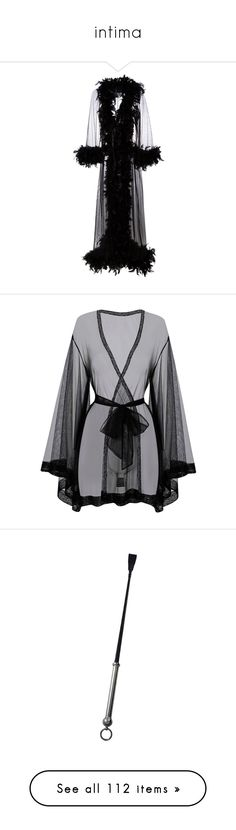 """""""intima"""" by hyunaluna ❤ liked on Polyvore featuring intimates, robes, lingerie, feather, robe, black, coats, feather robe, feather trim dressing gown and nylon robe"""