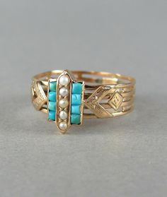 PRETTY turquoise and seed pearl ring, anitque engagement ring, vintage ...