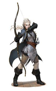 Female Half-Elf Fighter Archer - Pathfinder PFRPG DND D&D d20 fantasy
