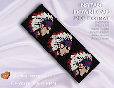 Peyote Patterns and Loom Patterns for Delica Size 11 by Bead Loom Patterns, Peyote Patterns, Bracelet Patterns, Beading Patterns, Indian Beadwork, Native Beadwork, Native American Beadwork, Indian Head, Native American Design