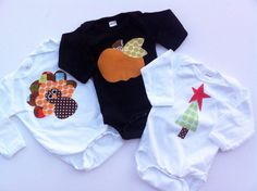 Holiday Shirt Set  Halloween Thanksgiving and by roundthebendagain, $63.00