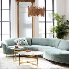 Home Decor Trends for 2019 - Martha Stewart Home. Shown here is the move toward the European look of a curved sofa. Living Room Sectional, Living Room Furniture, Home Furniture, Living Room Decor, Modern Furniture, Antique Furniture, Rustic Furniture, Outdoor Furniture, Furniture Projects