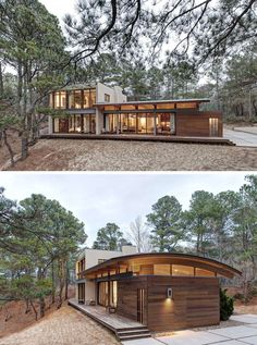 18 Modern Houses In The Forest | This secluded house makes the most of the surrounding forest and captures the views of the nearby bay....