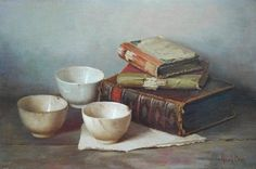 Henk Bos A Still Life with Books and Bowls
