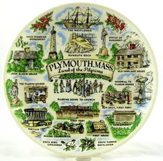 Plymouth MA MASS Land of the Pilgrims vintage Collector Souvenir Plate Mayflower