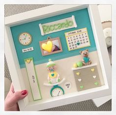 Fairy Crafts, Diy And Crafts, Baby Picture Frames, Rustic Fabric, Polymer Clay Kawaii, Shadow Box Art, Baby Box, Baby Bassinet, Baby Boy Newborn