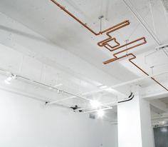 Copper pipe ceiling sculpture