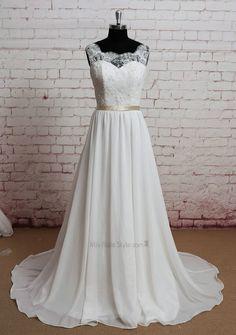 See Through Back Vintage Lace Wedding Dress
