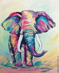 Animal Painting handmade. Livemaster - handmade. Buy Elephant painting 'once there Lived a Pink Elephant'.Pink
