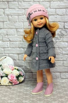 Crochet Doll Clothes, Knitted Dolls, Doll Patterns, Knitting Patterns, American Doll Clothes, Crochet Doll Pattern, Clothes Crafts, Vintage Dolls, Dress Making