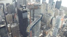 In this picture you can see a big escalator suspended 101 stories above Southern Manhattan. It's one of 9 being installed by the Lahmers, along with 74 elevators, in the One World Trade Center, Tower One