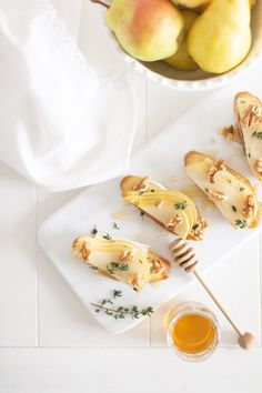 Pear and Brie Crostini with a dairy free option - the perfect easy holiday appetizer!