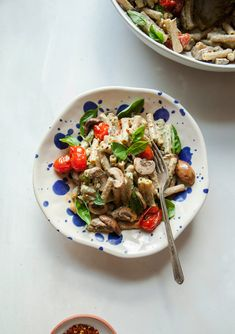BASIL TAHINI PASTA WITH MUSHROOMS & BURST TOMATOES » The First Mess // Plant-Based Recipes + Photography by Laura Wright