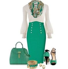 Love the Green tones this time of year.  This shade plays nicely with the white top and the black in the shoes.  Well detailed skirt.
