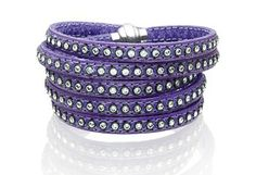 Bracelet Arezzo violet leather with zirconia 90 cm
