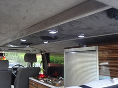 2001 T4 Corsica Conversion ~ Evolution Campervan Interiors - - For more ideas and inspiration visit www.jellyliving.com! Campervan Interior, Camper Conversion, Camper Ideas, Corsica, Camper Van, Vw, Evolution, Camping, Ceiling Lights