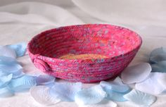 Wexford Treasures: Lovely Pink Batik Bowl ....I Handmade this pretty Pink Makeup Holder, Business Card Holder, Cute Desk Accessory!!!  by WexfordTreasures