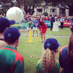 4/14/14 Kate in Christchurch, New Zealand,  to watch & participate in a 2015 Cricket World Cup event.
