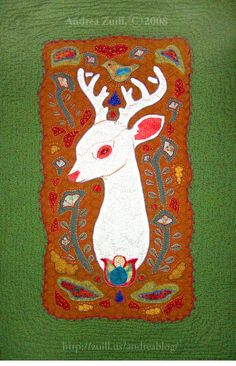 White Deer Quilt, applique with embroidery, by Andrea Zuill