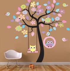 Giant Owls Swing on Colourful Flower Tree Wall Stickers Vinyl Decal Kids Nursery…